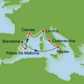 Western Mediterranean from Barcelona Itinerary