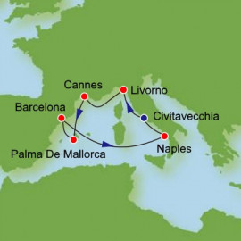 Western Mediterranean from Rome  Itinerary