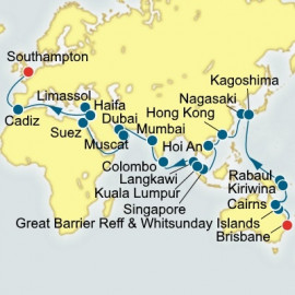 Brisbane to Southampton World Sector P&O Cruises UK Cruise