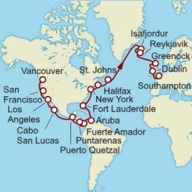 Vancouver to Southampton  Cunard Cruise
