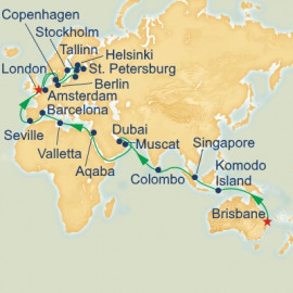 World Cruise Brisbane to London Sector Princess Cruises Cruise