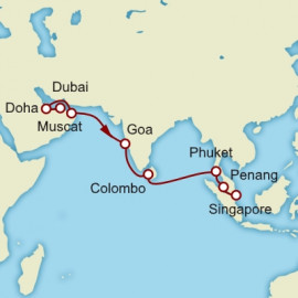 Dubai to Singapore World Sector Itinerary