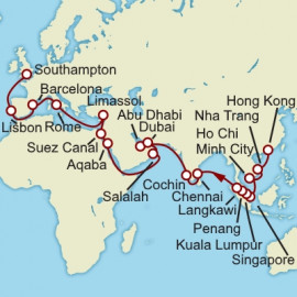 Hong Kong to Southampton World Sector Cunard Cruise