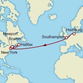 Hamburg to New York over 16 nights on Queen Mary 2 Cunard Cruise