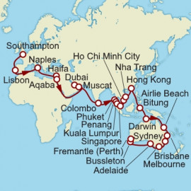 Southampton to Fremantle Itinerary