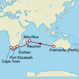 Fremantle to Cape Town World Sector Itinerary