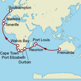 Fremantle to Southampton World Sector Itinerary