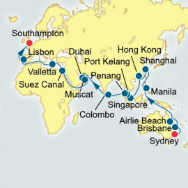 Sydney to Southampton World Sector P&O Cruises UK Cruise