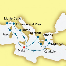 Greece Italy and Monaco  Itinerary