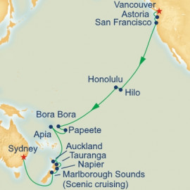 Hawaii Tahiti and South Pacific Crossing Itinerary