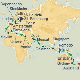 World Cruise Auckland to London Sector Itinerary