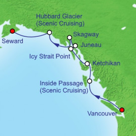 Northbound Alaska and Hubbard Glacier Itinerary