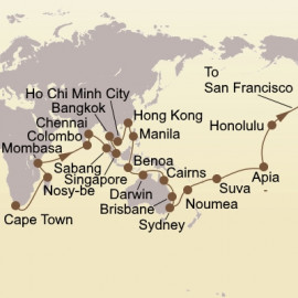 World Cruise Cape Town to San Francisco Itinerary