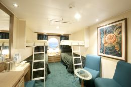 Ocean View Quad Cabin with Single Beds
