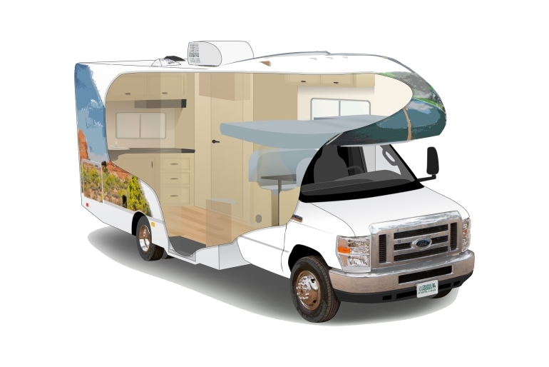 C19 compact motorhome rv rental canada for Small motor homes for rent