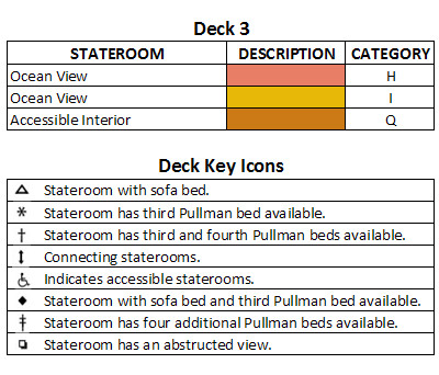 Quantum Of The Seas Deck 3 plan keys