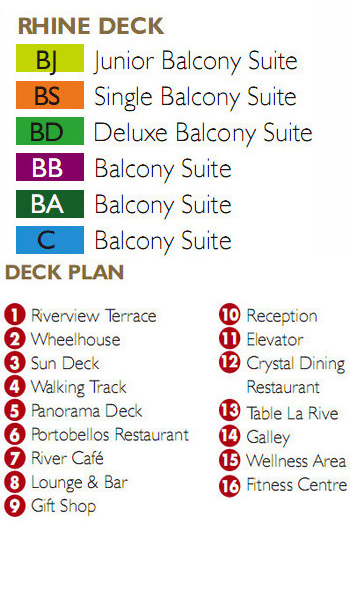 Scenic Crystal Rhine Deck plan keys