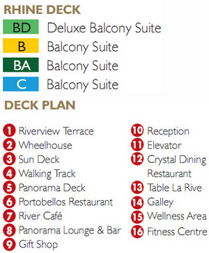 Scenic Gem Rhine Deck plan keys