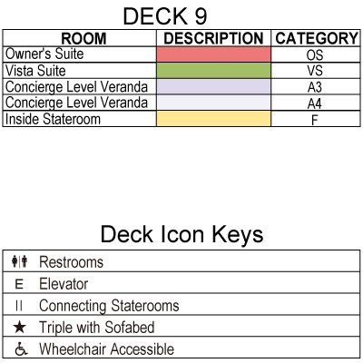 Riviera Deck 9 plan keys