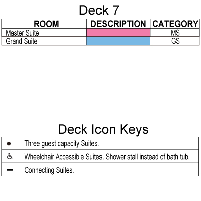 Seven Seas Navigator Deck 7 plan keys