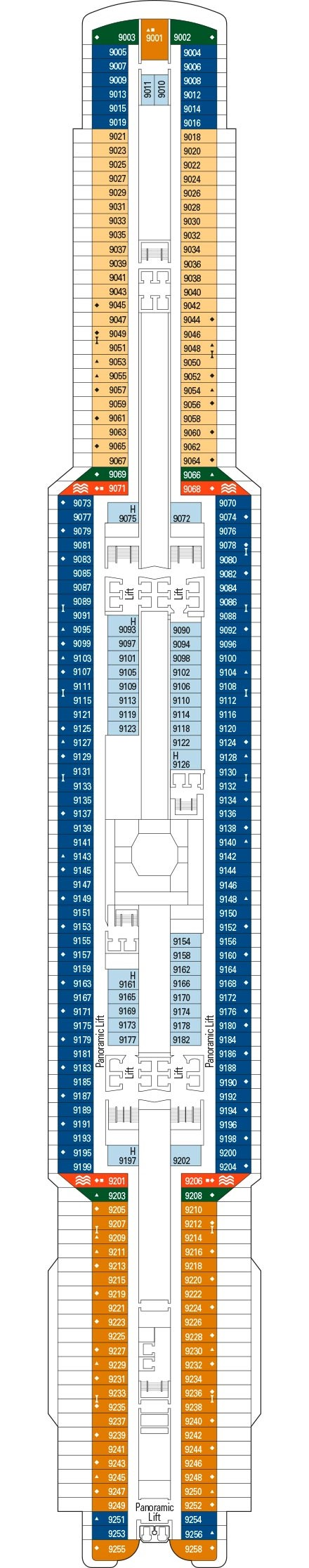 MSC Seaview Deck 9 layout