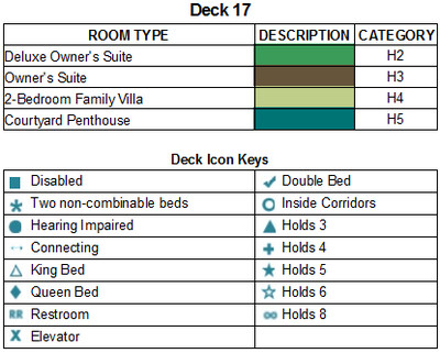 Norwegian Bliss Deck 17 plan keys
