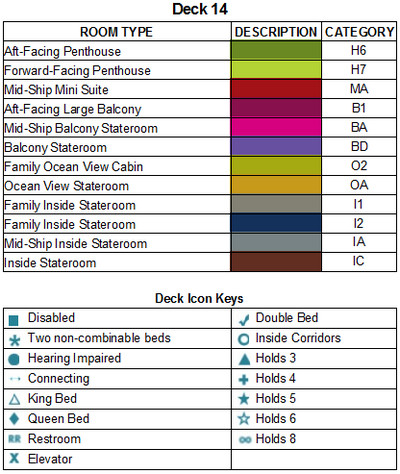 Norwegian Bliss Deck 14 plan keys