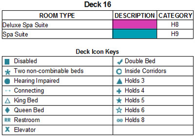 Norwegian Bliss Deck 16 plan keys
