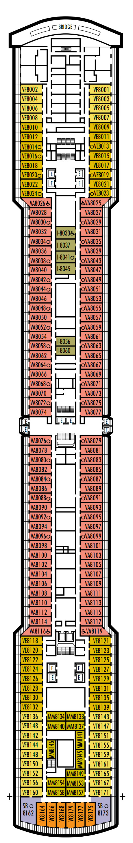 Eurodam Deck 8 - Navigation Deck layout