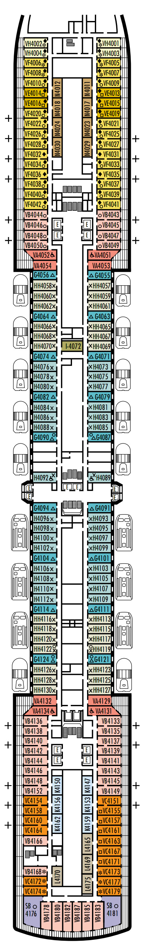 Eurodam Deck 4 - Upper Promenade layout