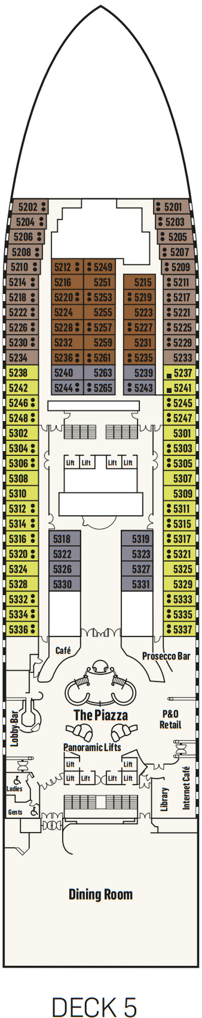 P&O - Pacific Adventure Deck 5 layout