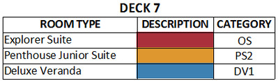 Viking Jupiter Deck 7 plan keys