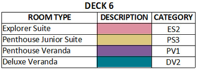 Viking Jupiter Deck 6 plan keys