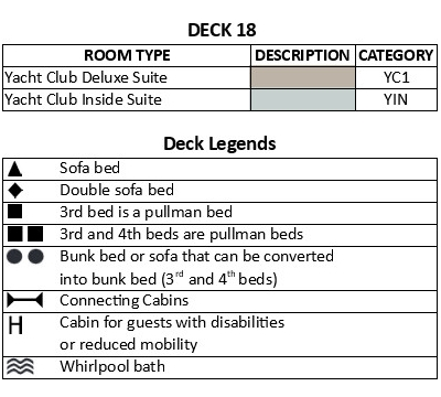 MSC Seashore Deck 18 plan keys