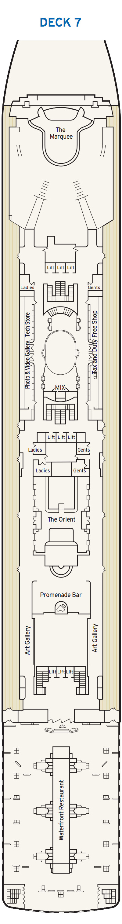 P&O - Pacific Dawn Promenade Deck 7 layout