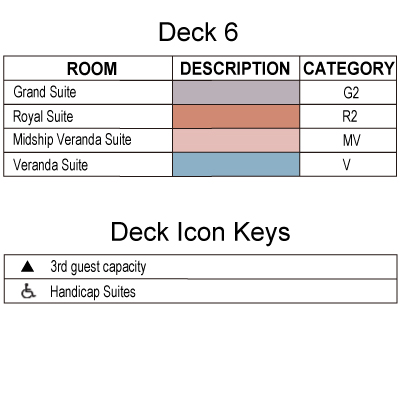 Silver Whisper Deck 6 plan keys