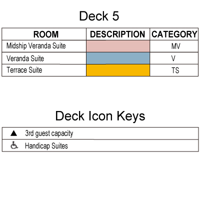 Silver Whisper Deck 5 plan keys