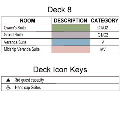 Silver Spirit Deck 8 plan keys