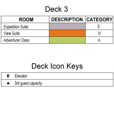 Silver Explorer Deck 3 plan keys