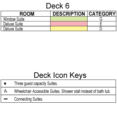 Seven Seas Navigator Deck 6 plan keys