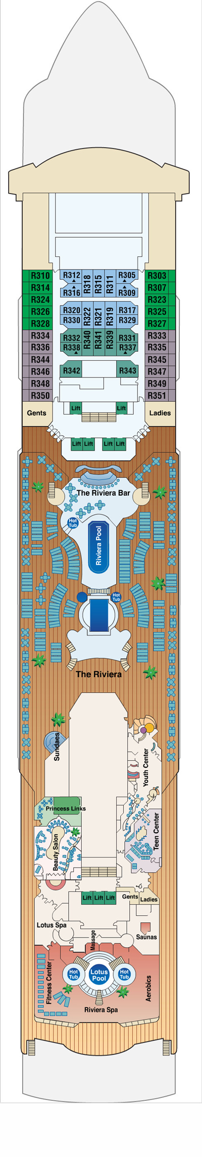 Sun Princess Riviera Deck 12 layout
