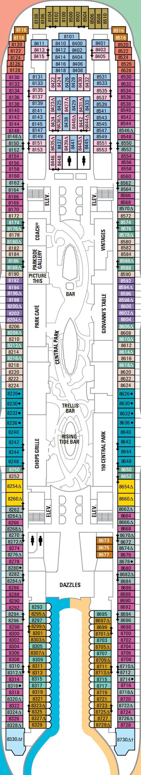 Oasis Of The Seas Deck 8 layout