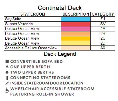Celebrity Equinox Continental Deck plan keys