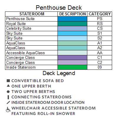 Celebrity Eclipse Penthouse Deck plan keys