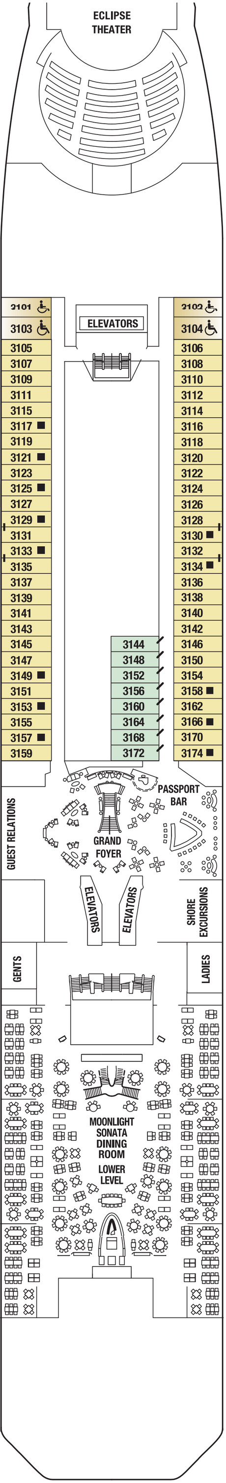Celebrity Eclipse Plaza Deck  layout