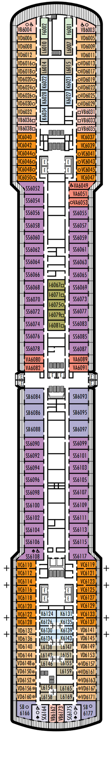 Noordam Deck 6 - Upper Verandah Deck layout