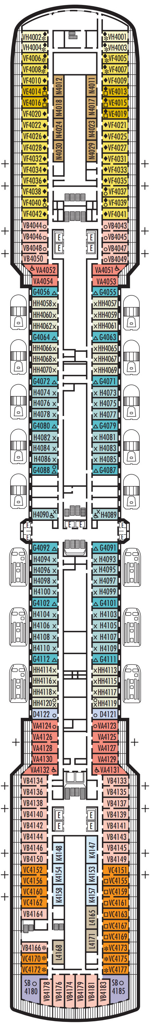 Oosterdam Deck 4 - Upper Promenade   layout