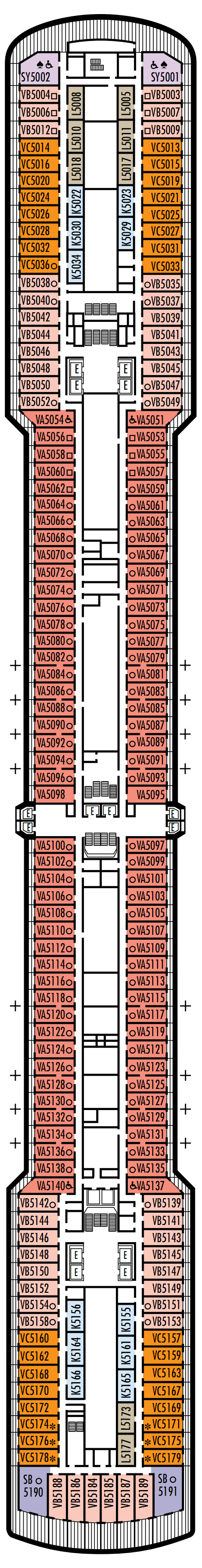 Westerdam Deck 5 - Verandah Deck layout