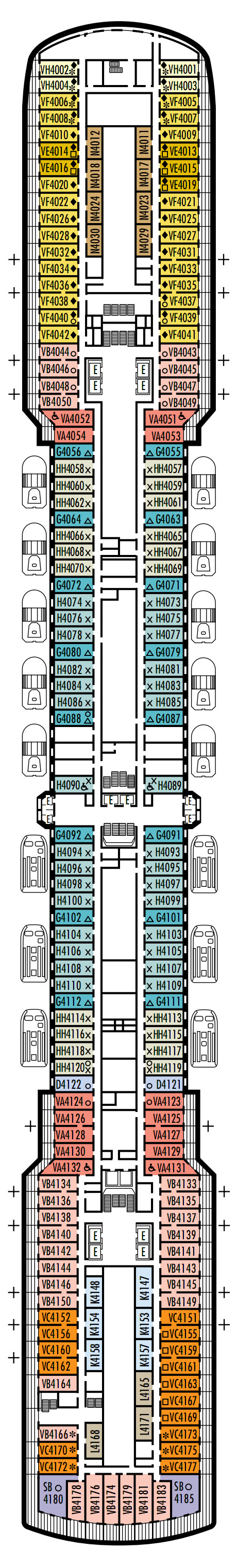 Westerdam Deck 4 - Upper Promenade layout