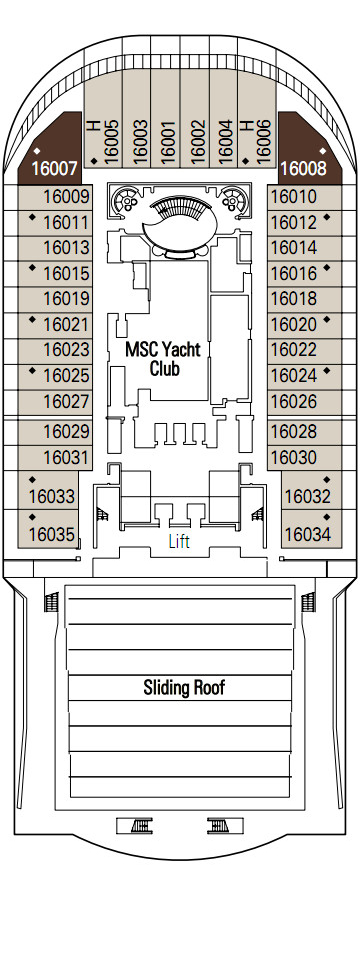 MSC Divina Urano Deck 16 layout